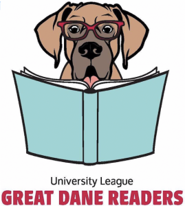 Logo of great dane reading book